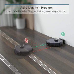 Tesvor S6 Staubsauger Roboter im Test automatisches Aufladen und Fortsetzen